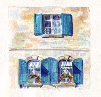 Provence Window Blue